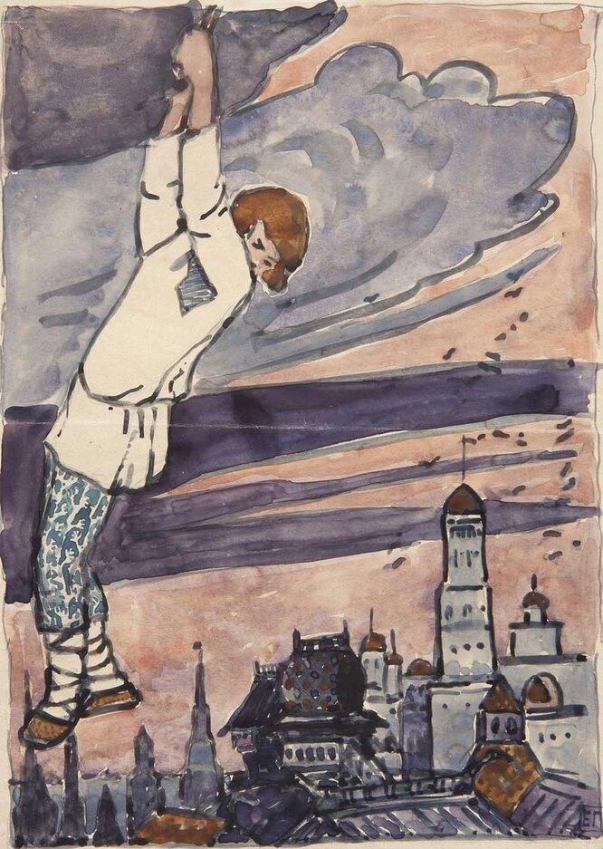 Мальчик висит на облаке, 1896–1898. Эскиз иллюстрации к сказке «Отчего медведь стал куцый»