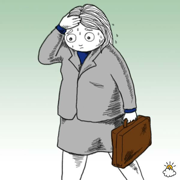 Нарисованная девушка с портфелем в руке держится за голову и сильно потеет. В чем причины изменения запаха пота?