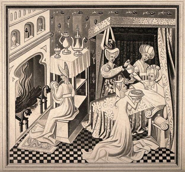 Родильные покои. Гравюра XV века.