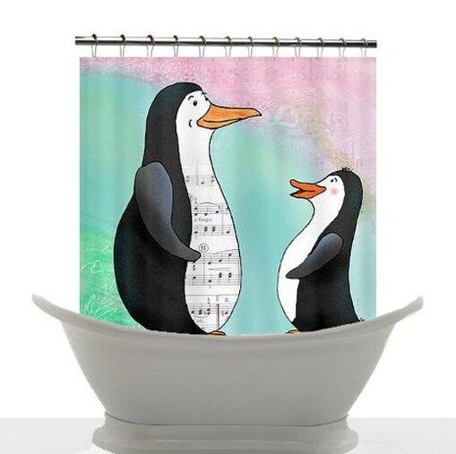 """Шторка для ванной комнаты """"Пингвины"""""""