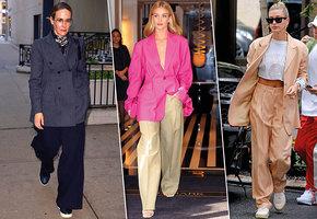 Широко шагая: стильные образы звезд с широкими брюками