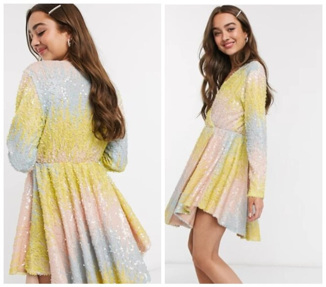 Asos, Мини-платье с запахом, пайетками и ассиметричным подолом с эффектом омбре Collective The Label Petite, 5890 руб