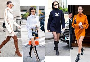 Как выбрать и с чем носить платье-свитер? Учимся у Беллы Хадид