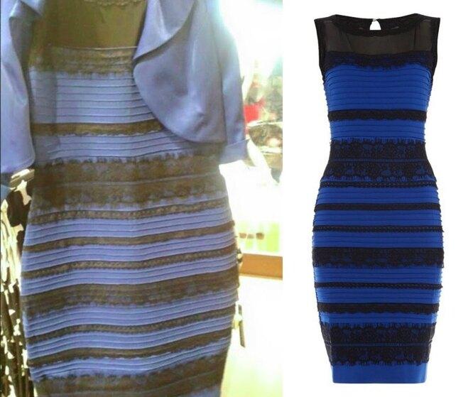 Бело-золотое или сине-черное? Какого цвета платье?