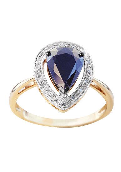 Кольцо из розового золота с сапфиром и бриллиантами