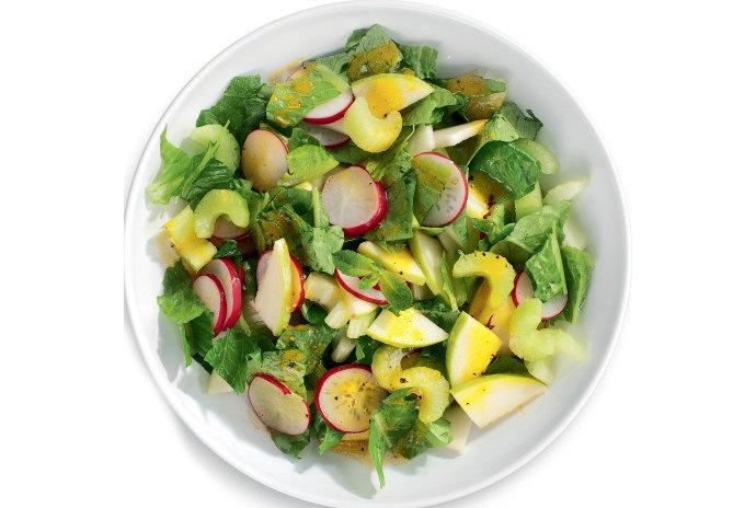 Рецепт зеленого салата с редисом