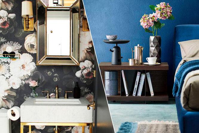 Синие кухни, обои вцветок иеще 10 модных дизайнерских трендов