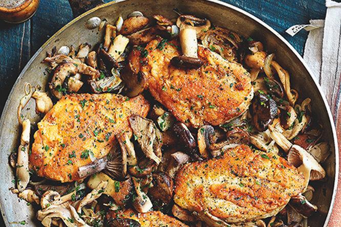 Cоте с курицей и грибами