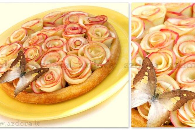 Кростата с фисташковым франжипаном и яблочными розами