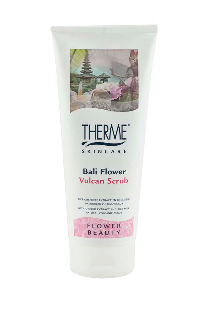 """Вулканический скраб для тела с экстрактом орхидеи, молочными протеинами, маслом сои и вулканическим песком """"Цветок Острова Бали"""", Therme"""