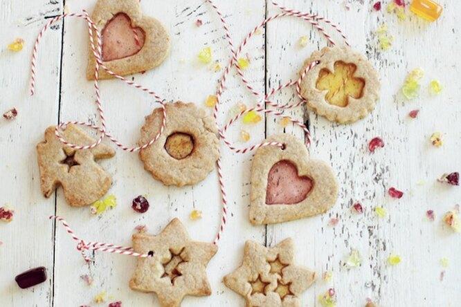Новогоднее витражное печенье