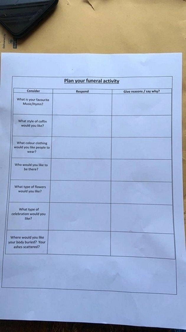 Анкета для детей на похороны