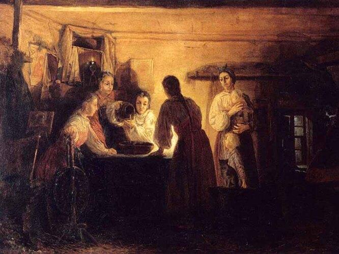 «Гадание на святках». Андрей Рябушкин, 1881