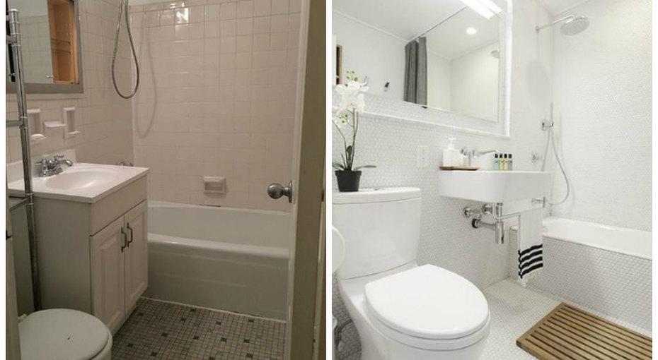 До ипосле: как превратить скучную бежевую ванную вуютное место