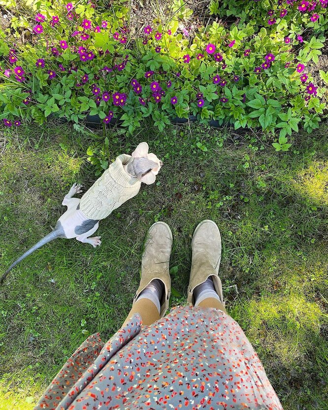 Мария и кот Нестор фото