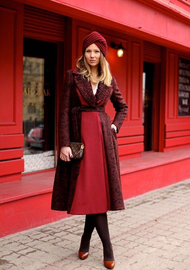 Модная шапка-тюрбан с пальто