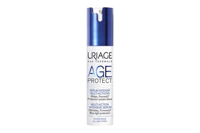 Многофункциональная интенсивная сыворотка c защиным комплексом против синего цвета, ретинолом, витаминами С и Е, низкомолекулярной гиалуроновой кислотой Age Protect, Uriage