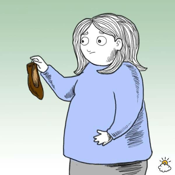 Нарисованная девушка держит туфлю и замечает изменения запаха ног