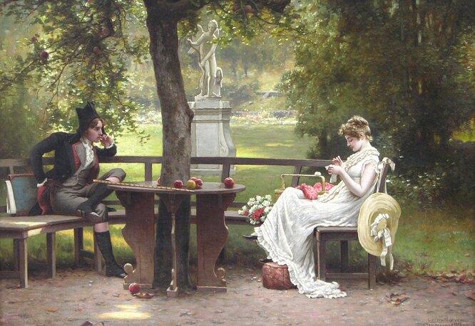 """Джордж Уэйтерс, """"Романтическая сценка в саду"""""""