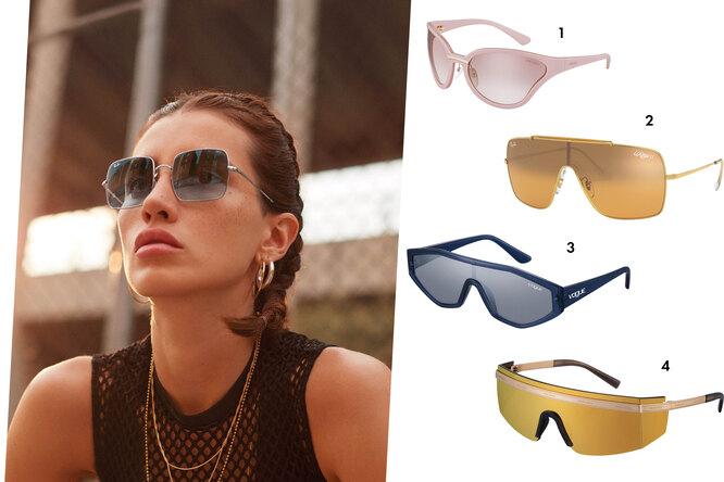 1. Очки, Prada 2. Очки, Ray-ban 3. Очки, Vogue 4. Очки, Versace; На фото очки Ray-ban