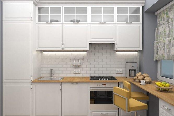 практичный белый кухонный гарнитур