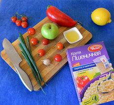Салат с овощами, яблоком и пшеничной крупой