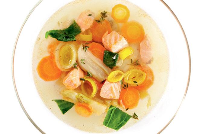 Суп из лосося с фенхелем и пореем