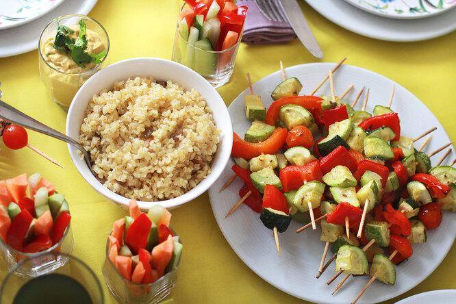 Шашлычки из овощей с булгуром