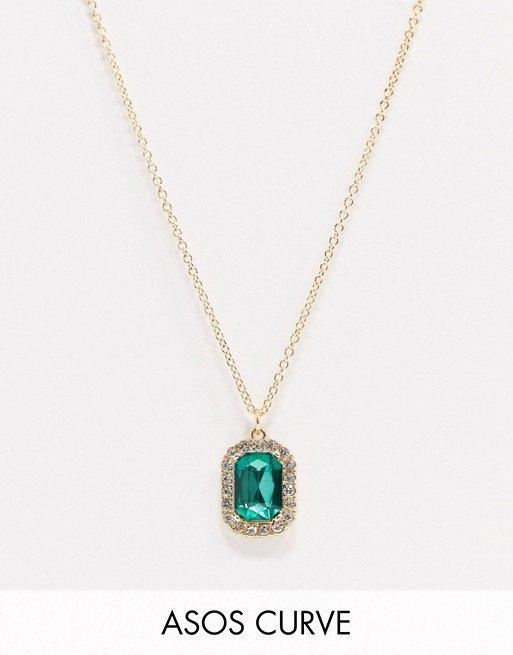 Ожерелье сзеленой подвеской-камнем Curve, Asos Design, 450 руб.