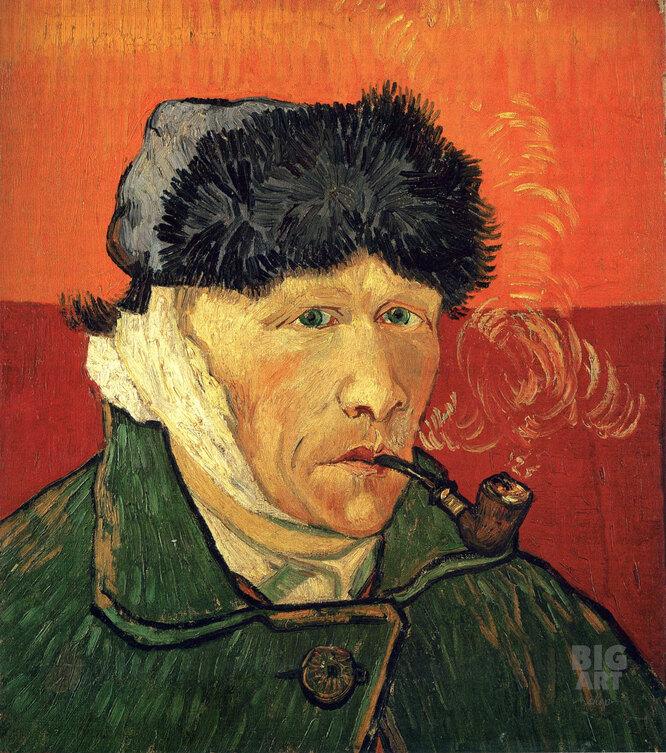 Автопортрет с отрезанным ухом и трубкой Картина, Винсент ван Гог.