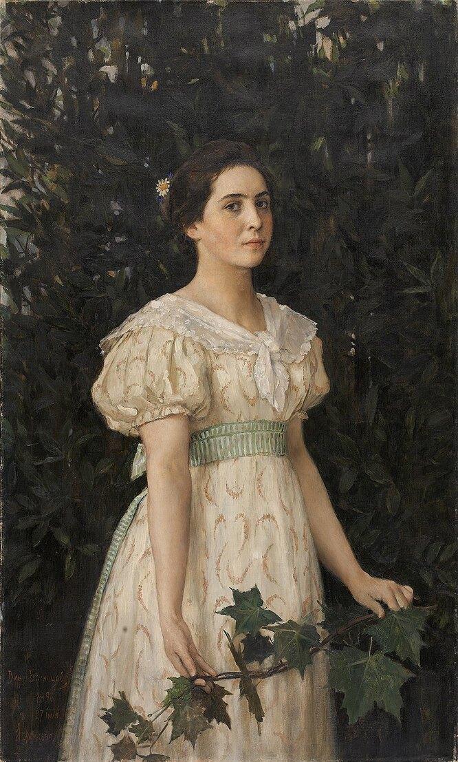 Виктор Васнецов. Девушка с кленовой веткой (портрет Веры Мамонтовой), 1896 год