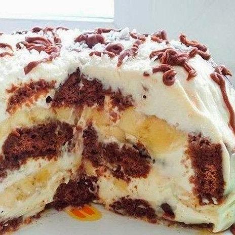 Торт безвыпечки спряниками ибананами