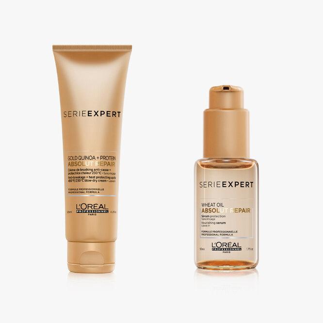 Термозащитный крем и защитная сыворотка из обновленной гаммы для восстановления поврежденных волос Absolut Repair, L'Oréal Professionnel