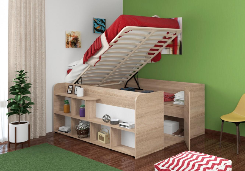 2-спальная кровать с ящиками и полками Twist Up,
