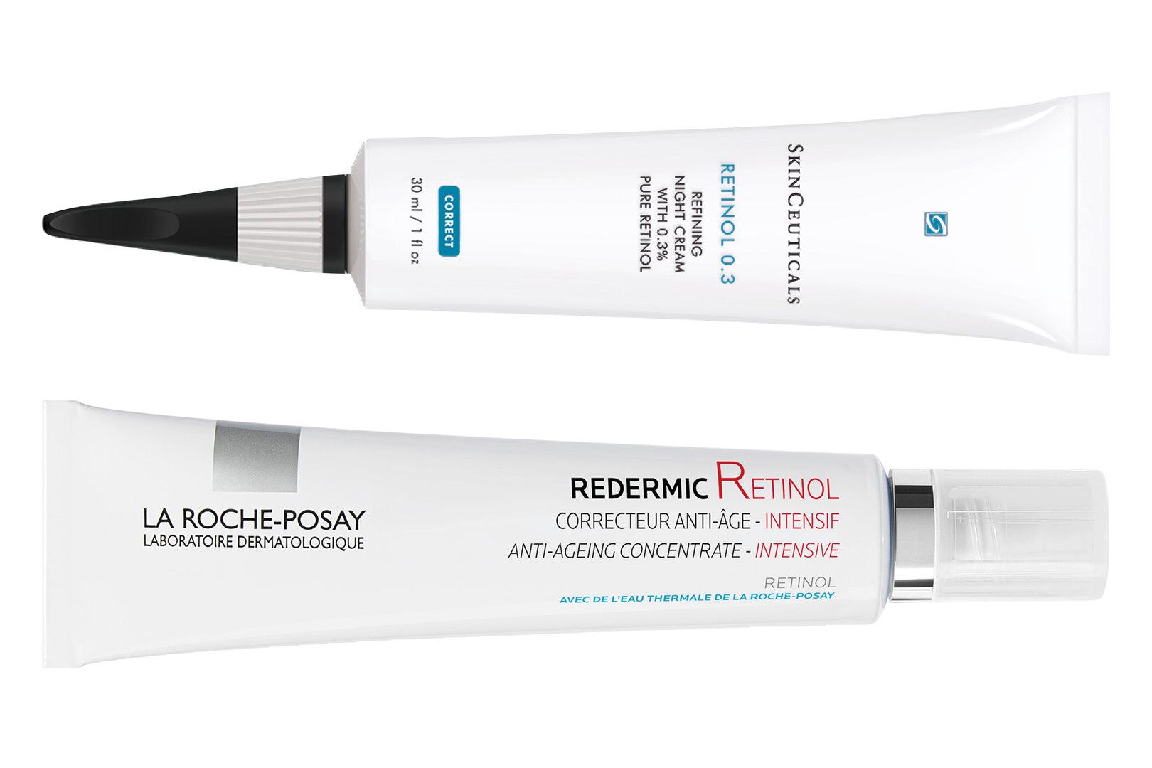Высокоэффективный ночной крем-уход сретинолом RETINOL 0.3, SkinCeuticals;  Интенсивный концентрированный антивозрастной уход c чистым ретинолом иретинолом последовательного высвобождения Redermic Retinol, La Roche-Posay