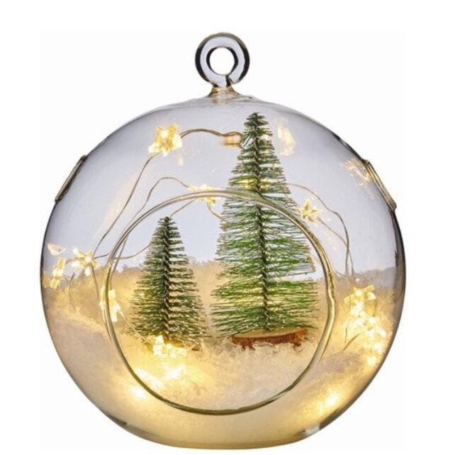 OBI, Световая фигура «Шар с елкой» 15 см теплый белый, 859 руб