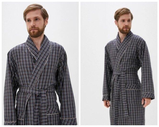 Lamoda, Мужской клетчатый халат из хлопка Vien, 4200 руб