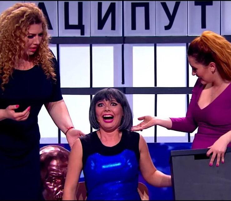 Екатерина Скулкина, Татьяна Морозова иМария Кравченко вшоу Comedy Woman