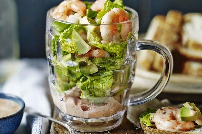Вкуснейший салат с креветками