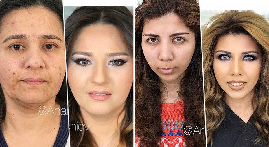 Скинуть 20 лет: стилист изБаку «стирает» годы спомощью макияжа