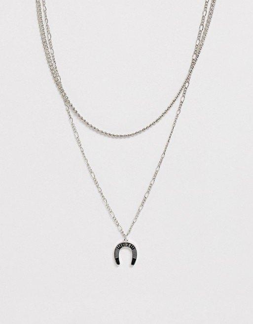 Серебристая цепочка вдва ряда сподвеской-подковой WFTW, 1590 руб.