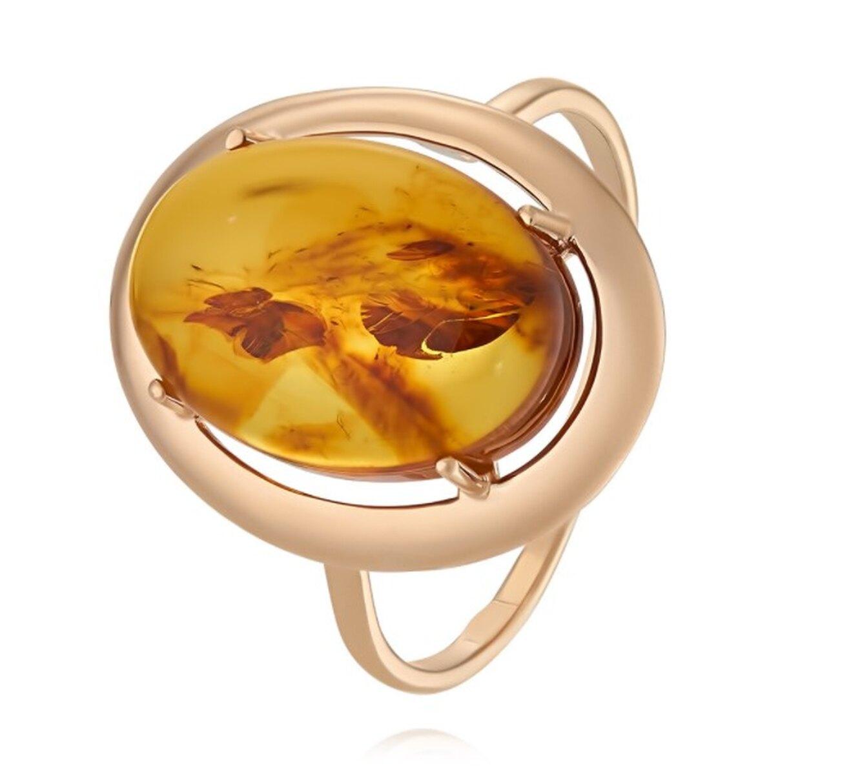 Кольцо из красного золота 585 пробы с янтарем, Adamas, 12 598 руб