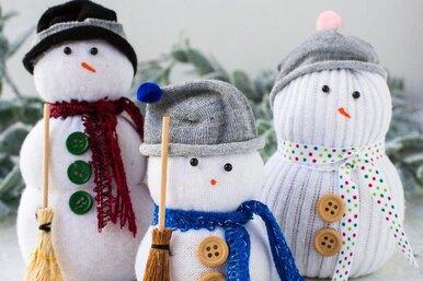 Снеговики издетских носков иеще две простые поделки изфетра