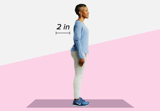 Правильное расстояние от шеи до стены - 5 сантиметров