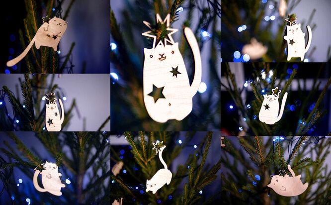 Набор котов на елку в подарочной упаковке