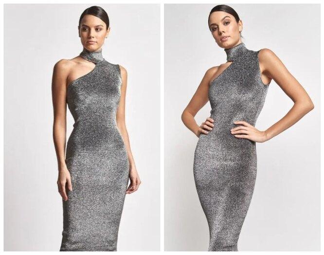 Lamoda, Облегающее платье на одно плечо металлического оттенка The Select Moscow, 5900 руб