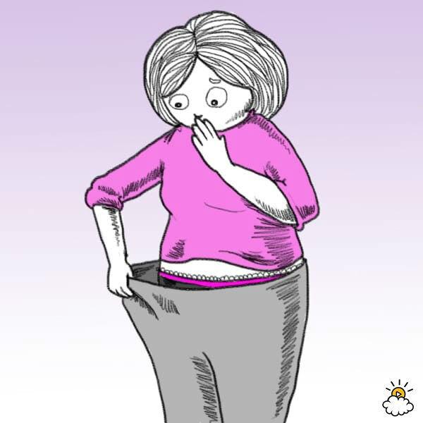 Нарисованная девушка оттягивает пояс брюк и удивляется изменению запаха из влагалища
