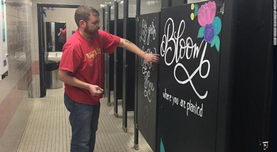 Родители разрисовали стены начальной школы, чтобы помочь детям адаптироваться