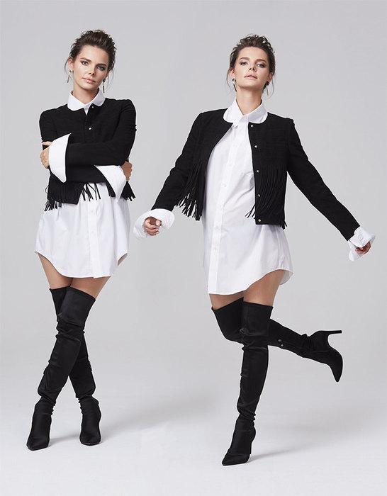 Жакет, Tom Tailor; сорочка, Marks & Spencer; ботфорты, Geox; серьги, Tous