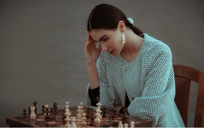 женщина, шахматы, мозг, мысль